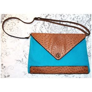 Street Level Canvas & Leather Large Envelope Purse